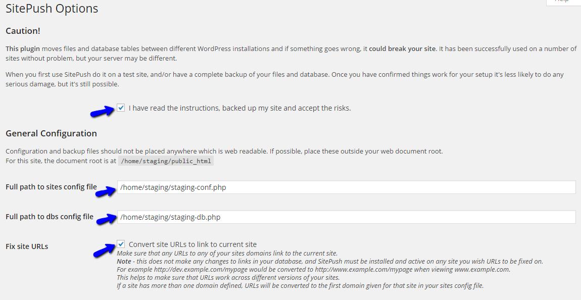 Configure SitePush Staging in WordPress
