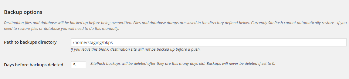 Configure Staging Backups in WordPress