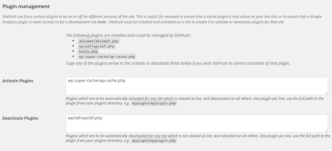 Specific Plugin Rules for WordPress Staging