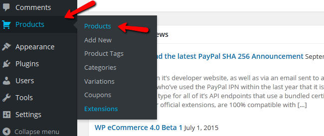 Accessing the Products Menu in WP eCommerce