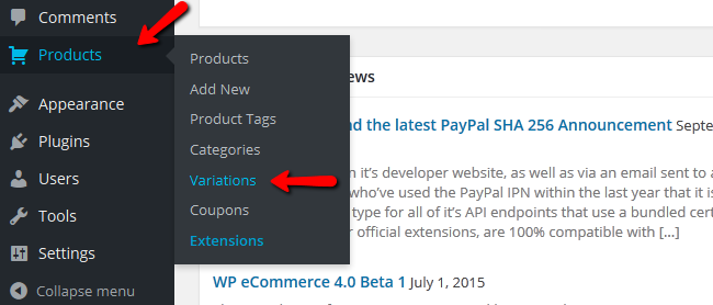 Accessing the Product Variations Menu in WP eCommerce