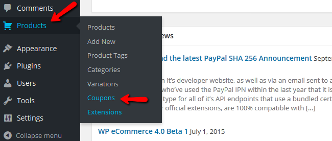 Accessing the Discount Coupons Menu in WP eCommerce