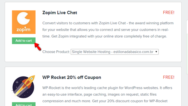 Adding the Zopim Live Chat to your cart
