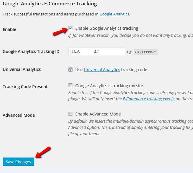 Enabling the Google Analytics Tracking inside WP eCommerce