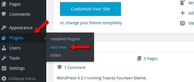 Navigating to the Plugin Menu of your WordPress
