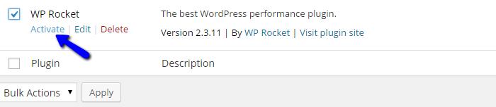 Activate WP Rocket in Wordpress