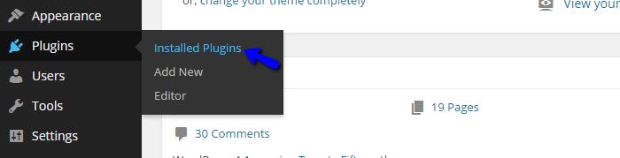 Installed plugins in Wordpress