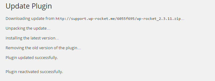 WPRocket successfully upgraded