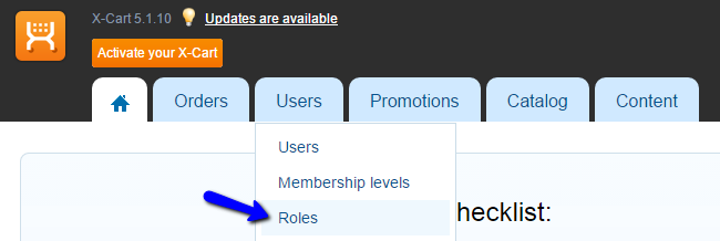 User roles in X-Cart