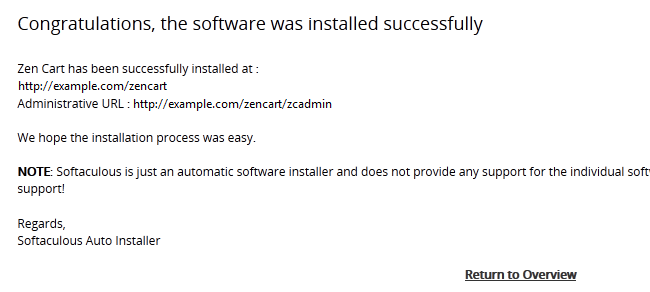 Successfully Installing Zen Cart via Softaculous