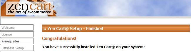 Finalizing the Zen Cart manual Installation
