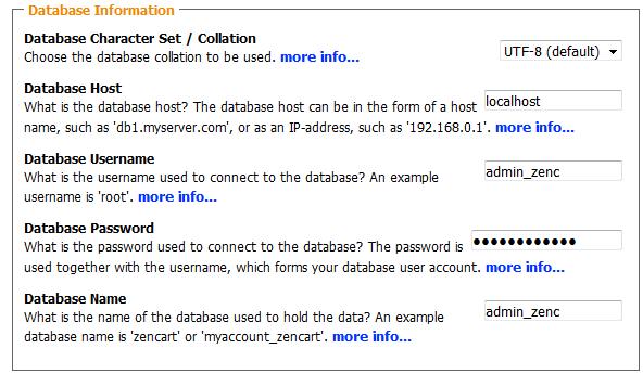 Configuring the Database for Zen Cart