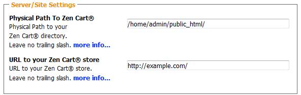 Site settings during Zen Cart Installation