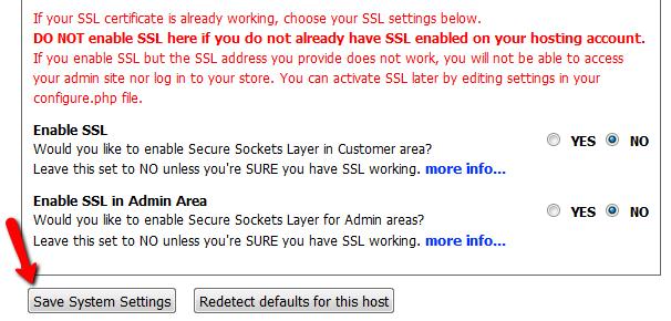 Configuring Zen Cart's SSL settings