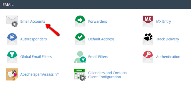 Accessing the Email Accounts section in cPanel