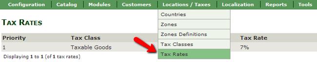 Accessing the Tax Rates menu in Zen Cart