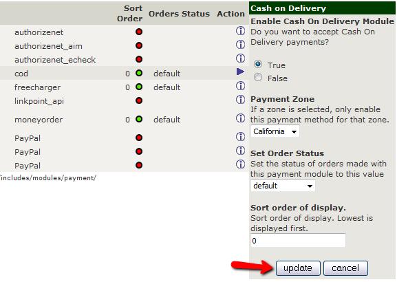 Configuring a Payment Module in Zen Cart