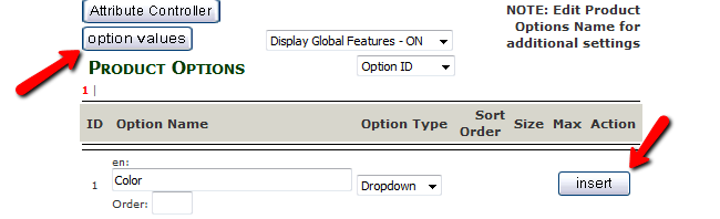 Inserting an Option Name and navigating to the Option Value menu