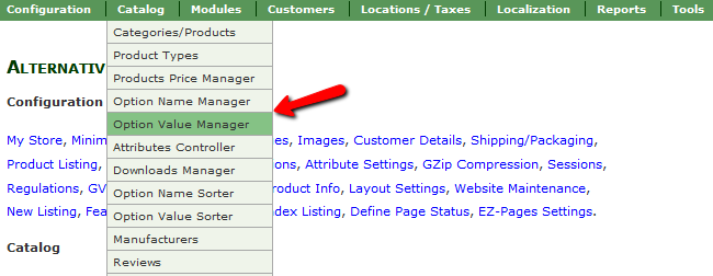 Accessing the Option Value Manager