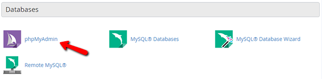Accessing the phpMyAdmin service via cPanel