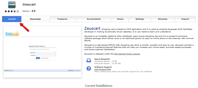 Install Zeuscart via Softaculous