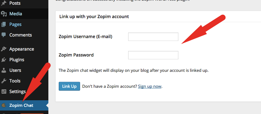 Add zopim login credentials